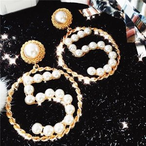 2020SS Exaggerated Hollow Round Earrings Bling Bling Pearl Women Dangle Earrings Gold Woven Number Earrings