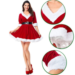 New Year Hooded V-neck Half Sleeves Tulle Velet Empire High Waist Ball Gown New Carnival Stage Wear Party Short Red Christmas Girl Dress