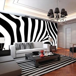 Zèbre peau noir et blanc bande de peintures murales papier peint pour TV Canapé Fond 3d Mur Photo murale papier peint Papel Mural Wall Paper home decor