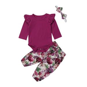 Bebê recém-nascido roupa da menina Fly manga Sólidos Calças Jumpsuit florais Leggings Bandana Outfit Roupas 3Pcs Set roupa ocasional