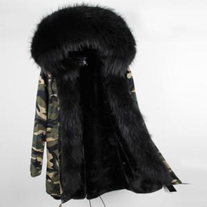 Venta caliente pieles de conejo negro MAOMAOKONG marca mujer chaqueta de piel negro piel de mapache Umbral recortar forro de piel de conejo Camuflaje shell largo parkas