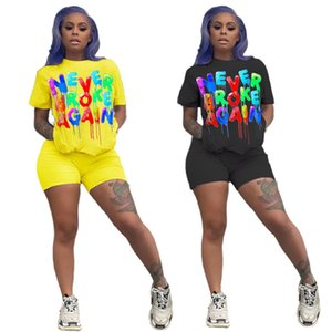 Women Summer Colorful Letters 2pcs Running Suits Pullover Tops Shorts Clothing Sets Designer High Waist Tracksuits