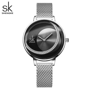 Shengke Crystal Lady Watches Women Dress Watch Original Design Quartz Wristwatches Creative Stainless Steel Strap Quartz Movement