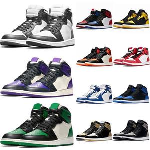 bon marché 1 1s Banned chaussures de basket homme de lièvre Chicago Mid cour Brisé Backboard violet pin vert G passer le haut de la torche 3 j1 Chaussures de sport