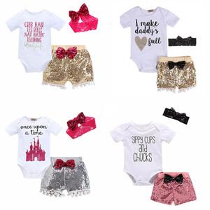 Baby-Dreiteilige Kleidung Sets Pailletten Baby-Spielanzug Kinder Overalls für Jungen-Mädchen-Hosen-Kurzschluss Hair Hüte Tops 6M-3T