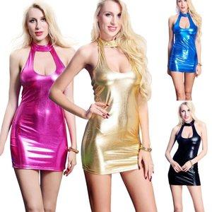 HOT 여성 검은 드레스 PVC WET LOOK MINI MIDI 비닐 가죽 BODYCON CLUBWEAR 영국 # R45
