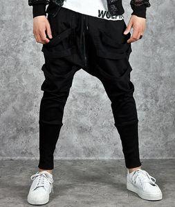 Moda Harem holgado de los hombres de Hip Hop Cruz Techwear Pantalones Hombre Negro de la cinta de tendencia Streetwear Joggers casuales pantalones de hombre CJ191128