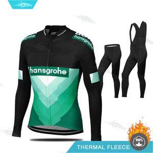 Homens Pro Cycling Team Roupa Boraing Inverno manga comprida Ciclismo Jersey Set Hansgrohe Ciclismo Uninform térmicas roupa de lã