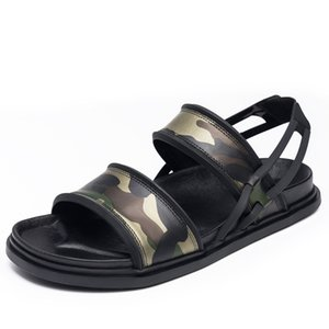 Men Sandals 2020 Summer New Camouflage Real Leather Open-toed Slippers Indoor Top Quality Leather Beach Slides Shoes Hombre
