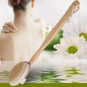 Moda Sıcak Doğal Uzun Ahşap Kıl Vücut Fırçası Masaj Bath Spa Scrubber Toptan LX8345 Geri Duş