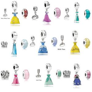 9 Setleri Prenses Parti Elbise Taç Murano Cam Charms boncuklar Charms Bilezikler DIY 3pcs / set için 925 Gümüş Takı Kolye