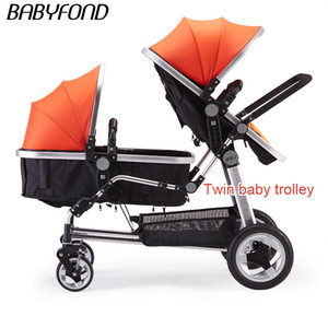 Free Ship New Arrival Rushed Armrests Cotton KDS Twins Baby Stroller Folding Front And Rear
