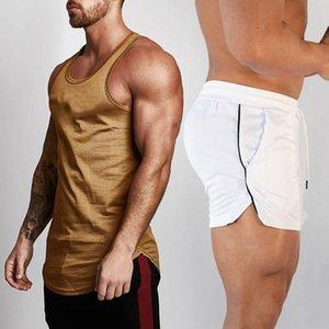 2pcs Sets Tank Top+Shorts Men Summer Joggers Suits Bodybuilding Fitness Men Tracksuits Gym Clothing Streetwear Mesh Sweatpant T200704