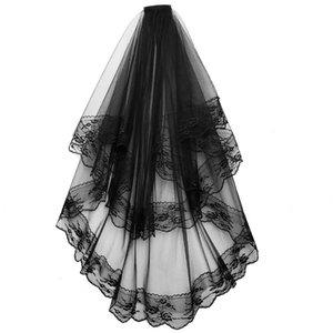New Designer Preto Veils casamento com Comb Lace duas camadas de tule Bridal Veil Curto Acessórios para Halloween vestido de festa
