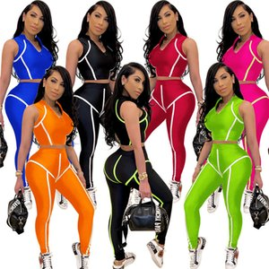 Women Summer Sexy Clothing Tank Tops+Leggings 2 Pieces Sets Outfits Solid Tracksuit Sleeveless Crop Tops Sportswear Zipper Jogger Suit 3257