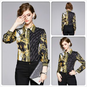 Alta calidad de impresión Otoño Invierno Camisas Ropa de mujer la solapa del cuello blusas elegante Oficina Señora adelgazan camisas Tops