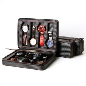 2/4/8 Grids PU cuir Voyage Montre boîte de rangement boîte Zipper Wristwatch Organisateur peut empêcher la montre de Scratching