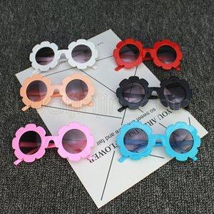 Kızlar Çiçek Güneş Yaz Boys Yuvarlak Çerçeve UV Koruma Gözlükler Açık Çocuk Seyahat Plaj Gözlük TTA1232