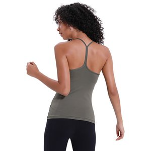 Tops de yoga sexy sin respaldo con el sujetador LU-60 Colores sólidos Tanques de yoga al aire libre Las mujeres forman corrientes de los deportes de gimnasia de la camisa ropa