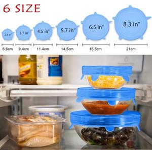 6 UNIDS / SET Silicona Stretch Tapas Olla de Succión Reutilizable Fresco Mantener Wrap Seal Tapa Cubre tapa Herramientas de cocina Accesorios Accesorios