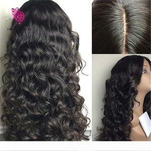 Em armazém Glueless Top perucas completas do laço Virgin peruana Cabelo Silk top peruca dianteira do laço de seda Base de peruca com o cabelo do bebê