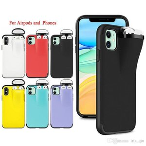 For Airpods Holder Phone Case for iPhone 11 Pro Max XS MAX XR X 10 7 8 6 6s Plus Cover with Earphone Case for Apple Airpods 2 1