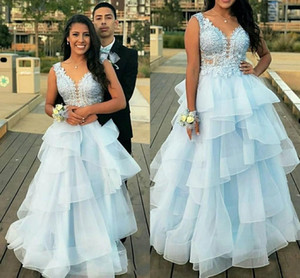 Cascading Ruffles Quinceanera Dresses V Neck Backless Appliques Beads Long Formal Prom Dresses Party Gowns for Sweet 16 vestidos de quincea