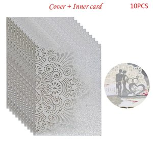 10pcs Bride and Groom Hollow Wedding Party Invitations Card Delicate Carved Lace X4YD