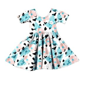 FPZIPE Baby Girls Summer Dress Casual Girls Floral Print Pattern Dress Boutique Cotton Children Clothing Kids Girl Twirl
