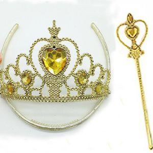 I bambini si vestono accessori New Yellow Crown Tiara Set fascia per capelli Princess Queen Bacchetta magica Princess Cosplay Strass Bacchette DHL XD20950