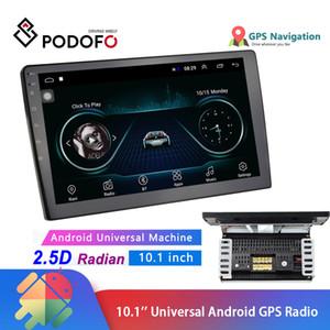Podofo 안드로이드 2 딘 GPS 자동차 스테레오 라디오 자동차 MP5 플레이어 블루투스 WIFI FM 라디오 2DIN 10.1 ''HD 1080P 2.5D 강화 유리 거울