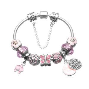 День Оптово-розовые стеклянные бусы браслет Валентина Подарок Браслет Подходит для Pandora Style Jewelry