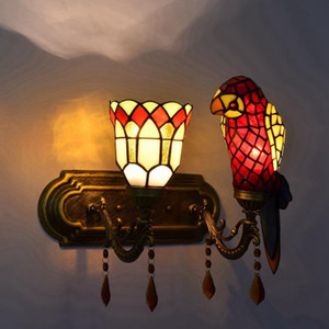 European style retro lamp parrot bedroom bedside wall lamp stained glass decorative lamp rural corridor double head crystal wall lamps