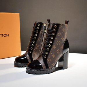 Роскошные дизайнерские туфли женские СТАР TRAIL ботильоны лакированные Monogram холст равнину телячьей кожи коренастый шнуровке ботинки женщин Мартин сапоги