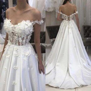 Chic Off The Shoulder Wedding Dresses 3D Floral Appliques Illusion Lace-Up Back A-Line Mariage Gowns Sweep Train Vestido De Novia