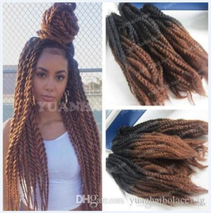 12 Packs Full Head Two Tone Marley Braids Hair 20inch Black Brown Ombre Synthetic Hair Extensions Kinky Twist Braiding Free Shipping