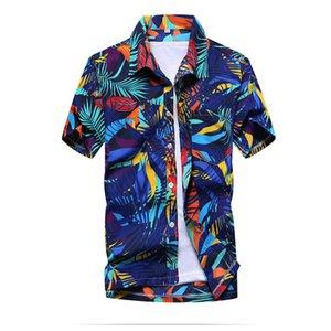 Yaz erkek Plaj Gömlek Erkek Rahat Kısa kollu Baskı Gömlek erkek Büyük Boy S-5xl MX190719