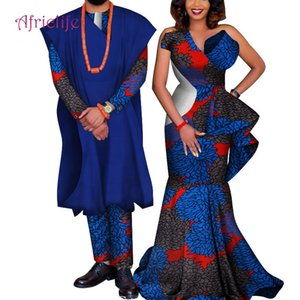 2019 New Two Piece Set African Dashiki Print Couple Clothing for Lovers Men's Robe Suit Plus Women's Party Maxi Dress 6XL WYQ178