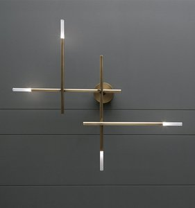 Modern Copper Black Metal Acrylic Cross Tube Wall Lamp Background Wall Sconce Living Room Home Decoration WA183