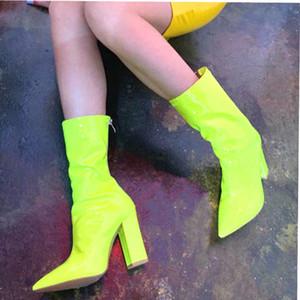 MeiLiKeLin attrayant bonbons couleur mi-mollet Bottes Femme Bloc talons mi Bottes Tendance vert talon haut pour femmes Banquet