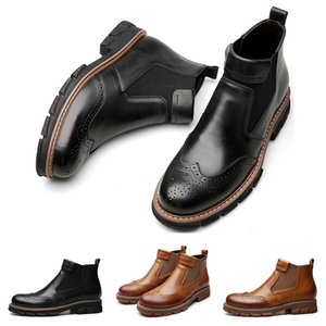 Whole sale drop shipping leather boots for men black brown casual designer sneakers size 38-44 free shipping two
