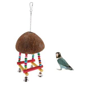 Parrot Shell Coconut Balançoire Perch stand Avec Bell Oiseau Bite Grimpez Jouet