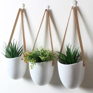 3pcs / set Nordic Stil Keramik Blumentopfpflanze Stand Dekoration Planter Heim Flur Balkon Wand hängen Blumentopf T200104