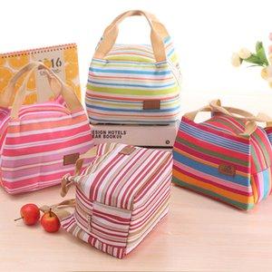 Полосатый Обед Сумка Переносного теплоизолирующий Bento Lunch сумка Tote Cooler Zipper мешки Открытая еда Хранители Контейнеры для хранения GGA3240