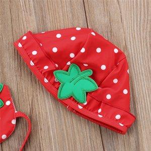 Baby Girl 3Pcs Strawberry Imprimer Ensemble bikini Maillots de bain maillot de bain pour enfants tout-petits été Plage Maillot de bain Beachwear Biquini tankini