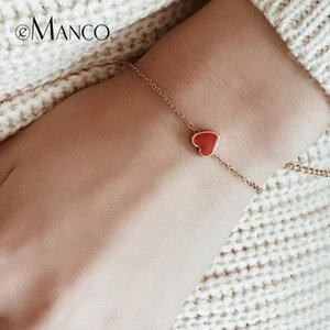 e-Manco Classic Gold Color Chain Bracelets for Women Vintage Red Heart Enamel Charms Adjustable Femme Bracelet Fashion Jewelry