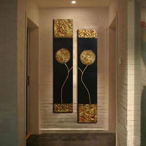 El oturma odası için tuval altın çiçek siyah arka plan çağdaş moda duvar sanatı yağlıboya soyut yağlı boya boyalı
