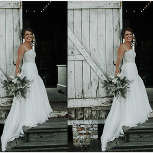 Страна повседневные свадебные платья Кружева без бретелек свадебное платье Robe de mariee Boho сексуальное свадебное платье с открытой спиной шифон нижнее свадебное платье