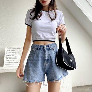 Los pantalones vaqueros calientes GUUZYUVIZ Azul Altos Waits Denim Jeans Corto Femenino Hold borla de Corea del verano 2020 suelta más el tamaño
