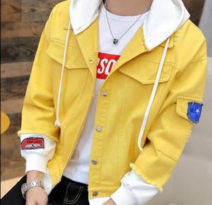 2020 New Jeans Jacket Men Streets Hoodie splicing Denim Coat Male Motorbike Jean Coat Jackets Asian Size free shipping